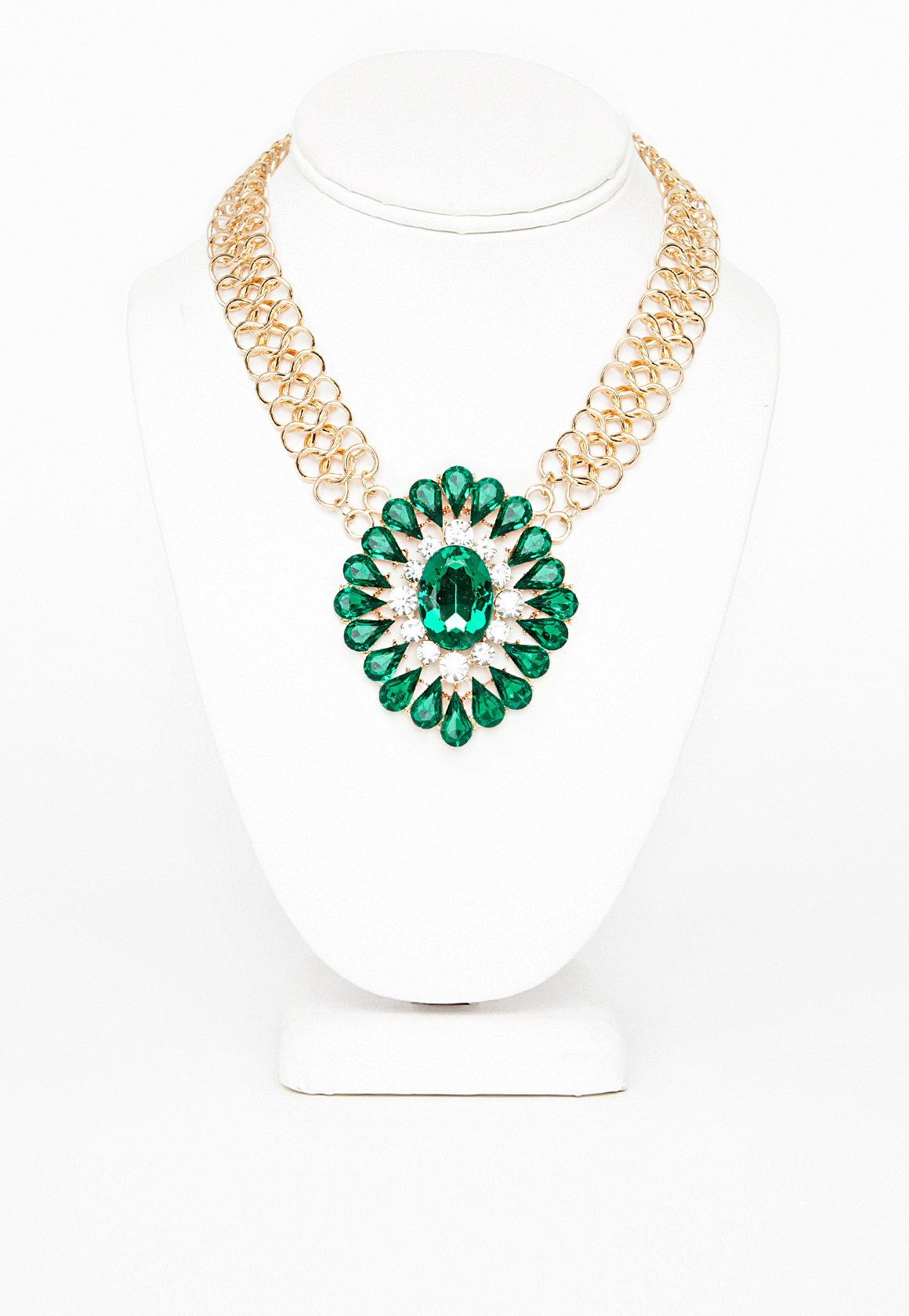 Women's Jewellery Gold Megana Oversized Gem Statement Necklace, Gold