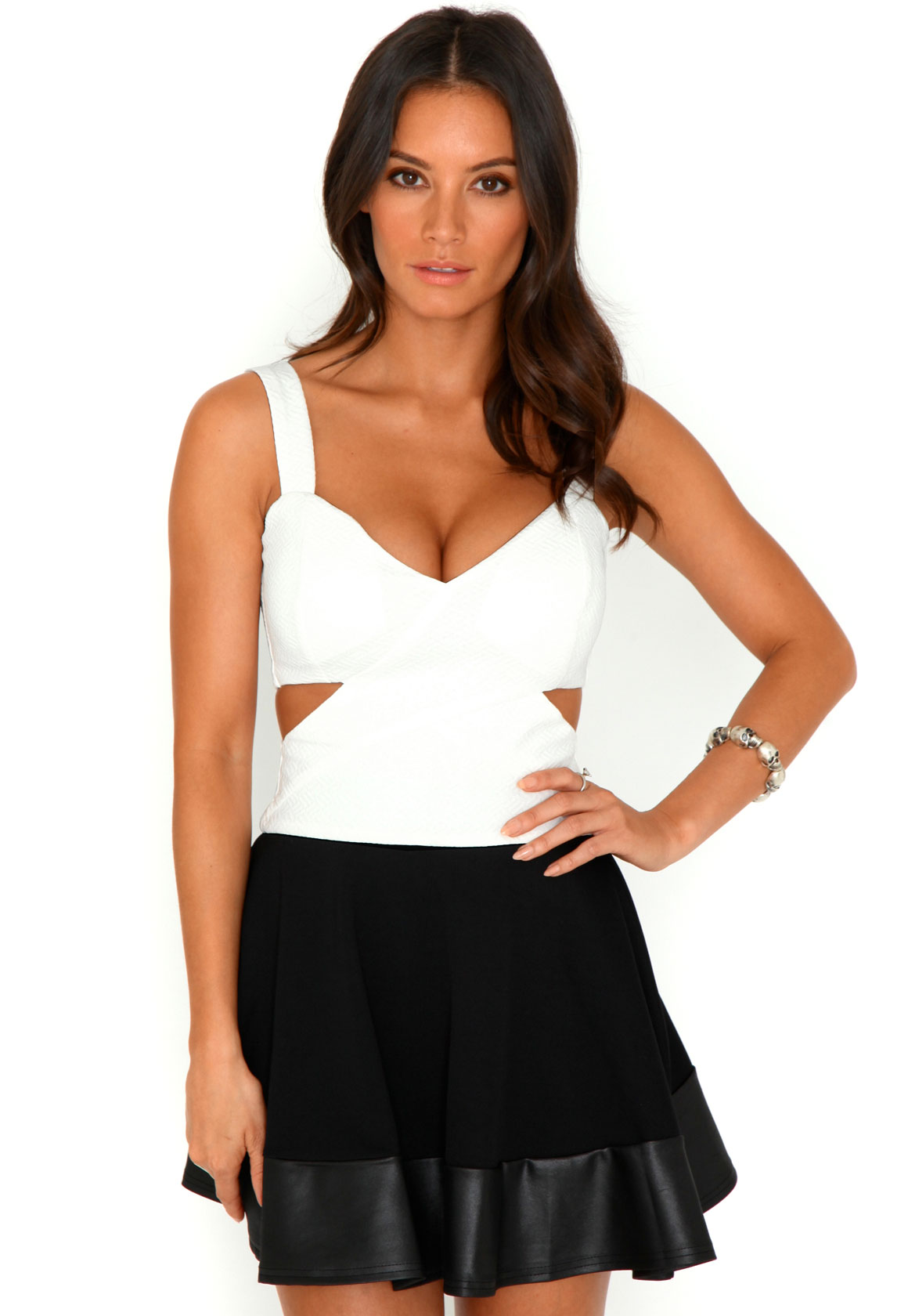 Andie Textured Cut Out Crop Top In Cream