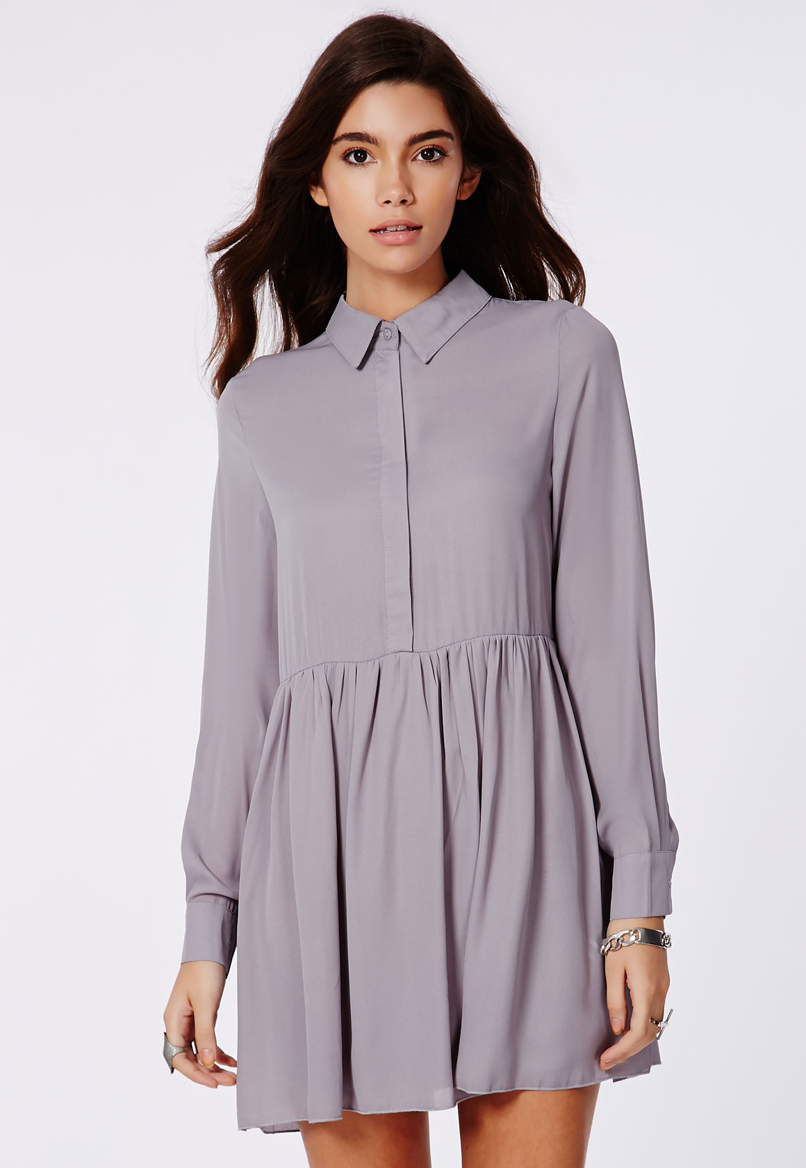 Shop Missguided online and buy Grey  Shirt Dress by Missguided