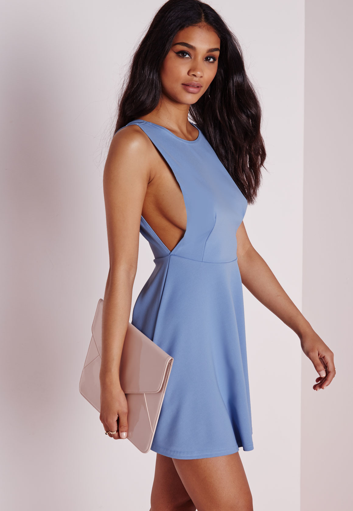 Shop Missguided online and buy Back Skater Dress Powder Blue by Missguided