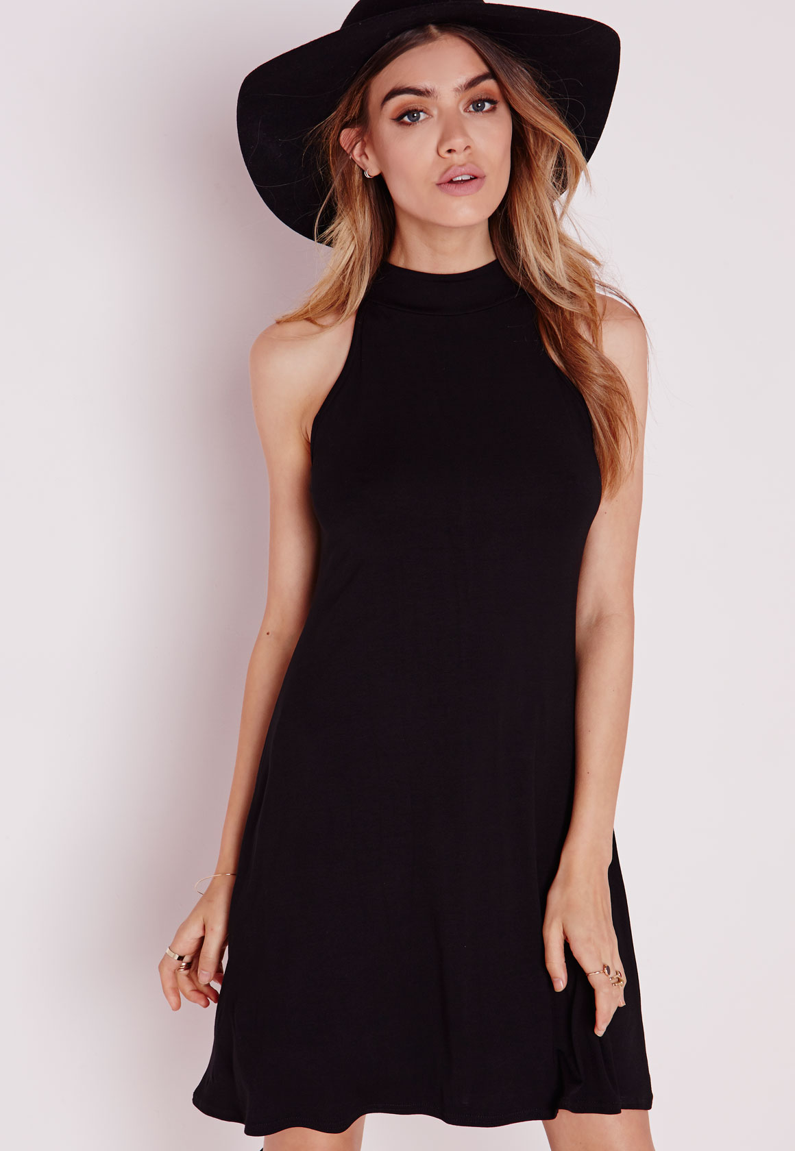 Shop Missguided online and buy Neck Jersey Racer Swing Dress Black by Missguided