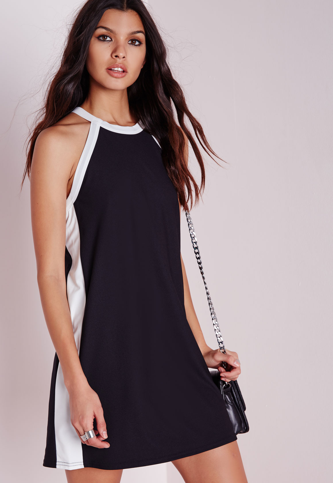 Shop Missguided online and buy Trim Tie Back Shift Dress Black by Missguided