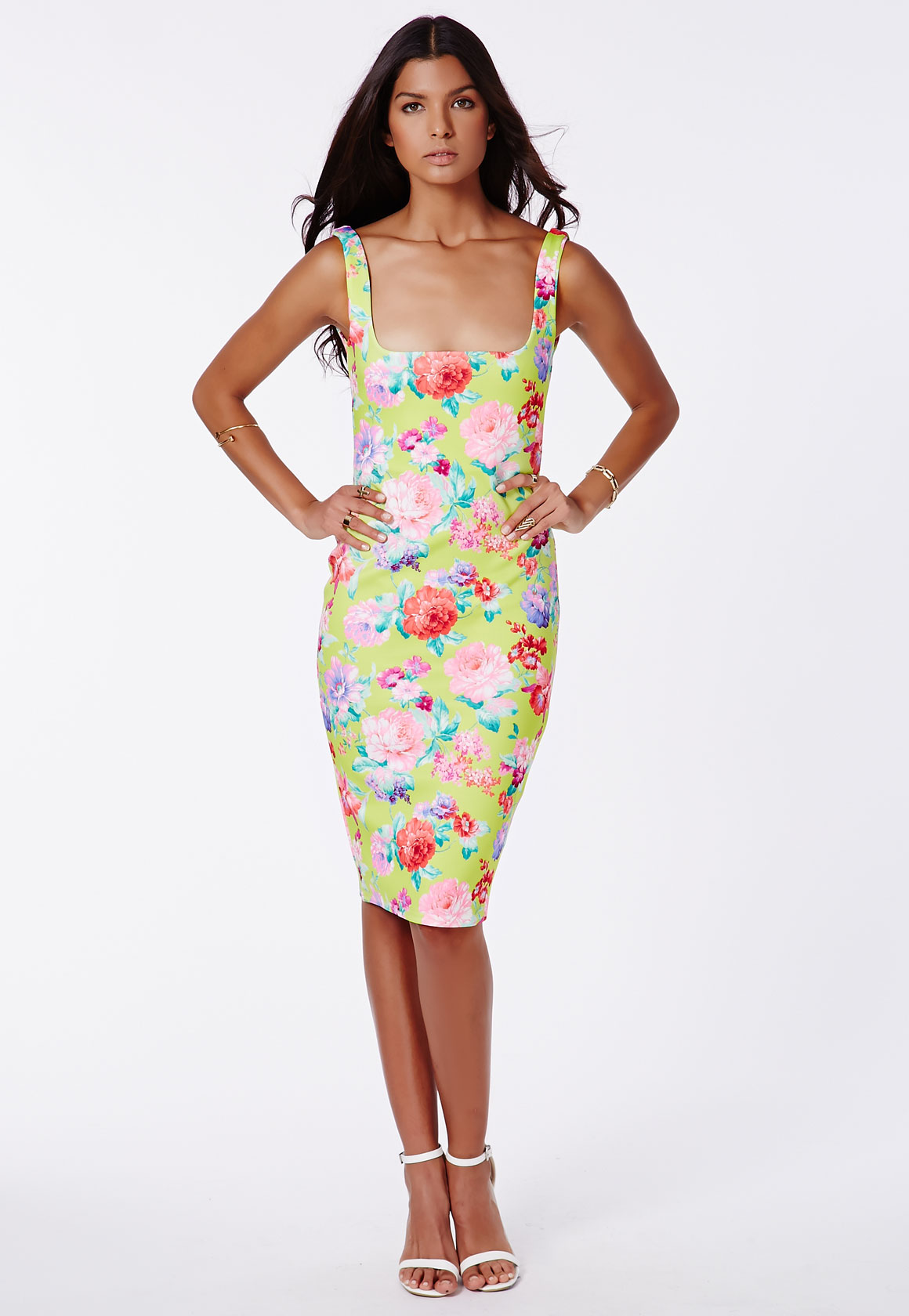 Floral Print Bodycon Midi Dress - Size 6