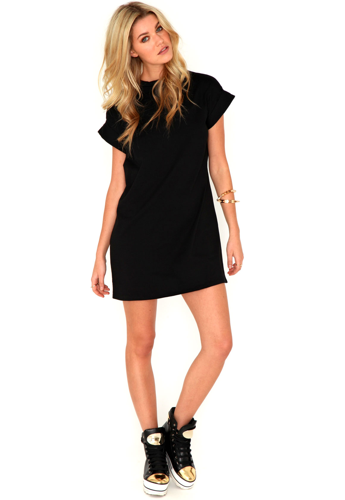 Price search results for Black Suede and PU T Shirt Dress Black