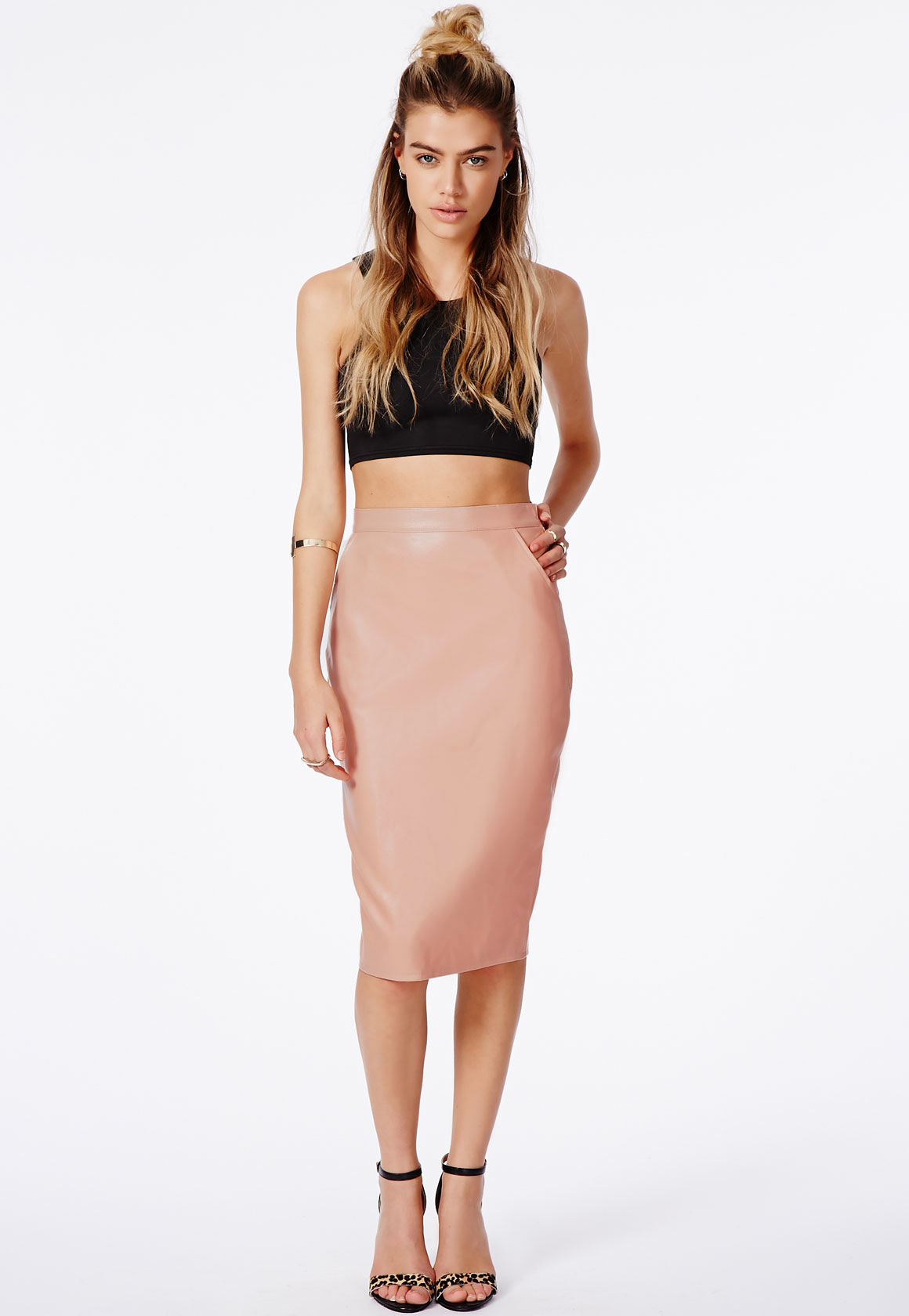 Pink Faux Leather Pencil Skirt