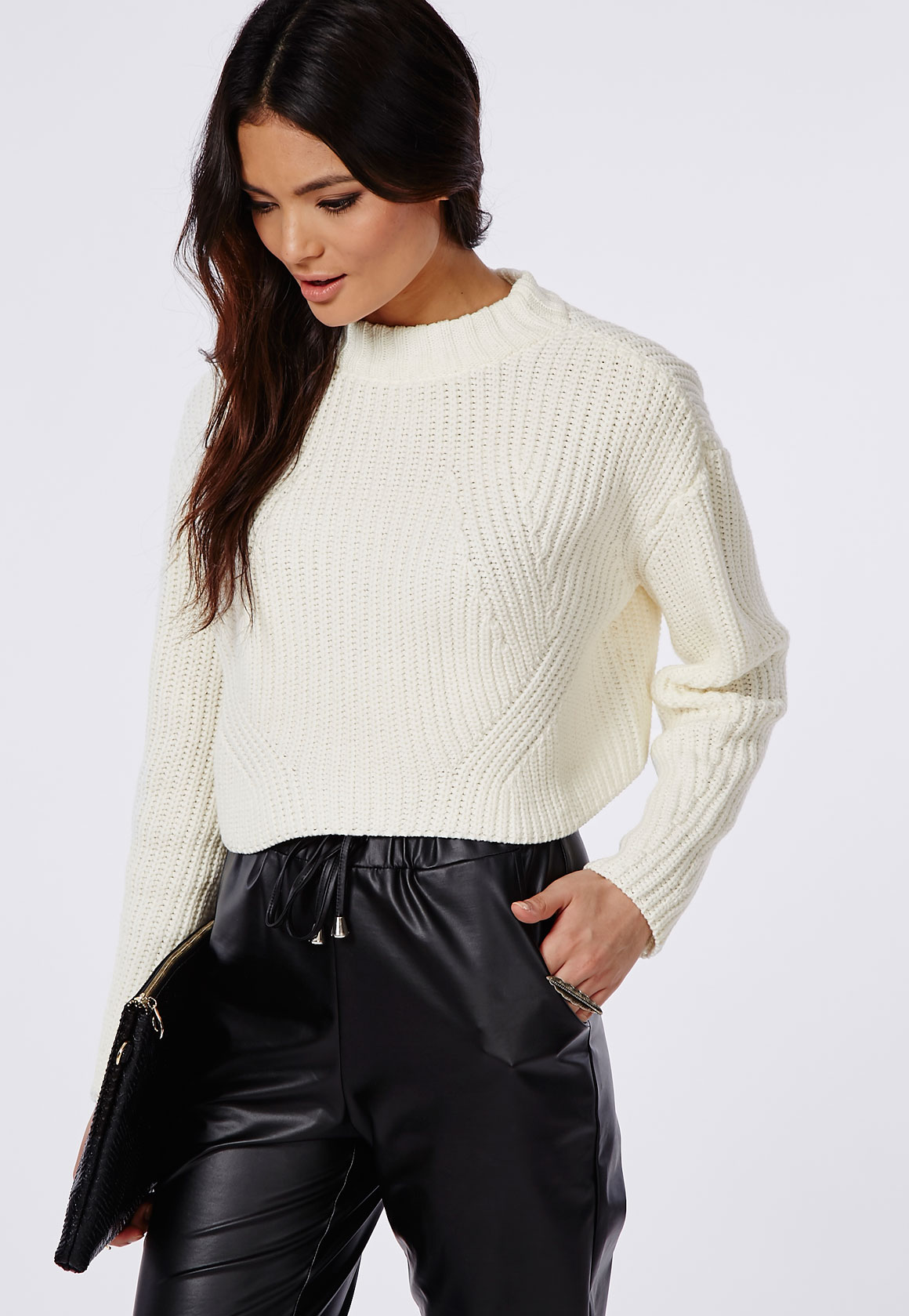 High Neck Sweater Dress Cropped High Neck Knit Sweater
