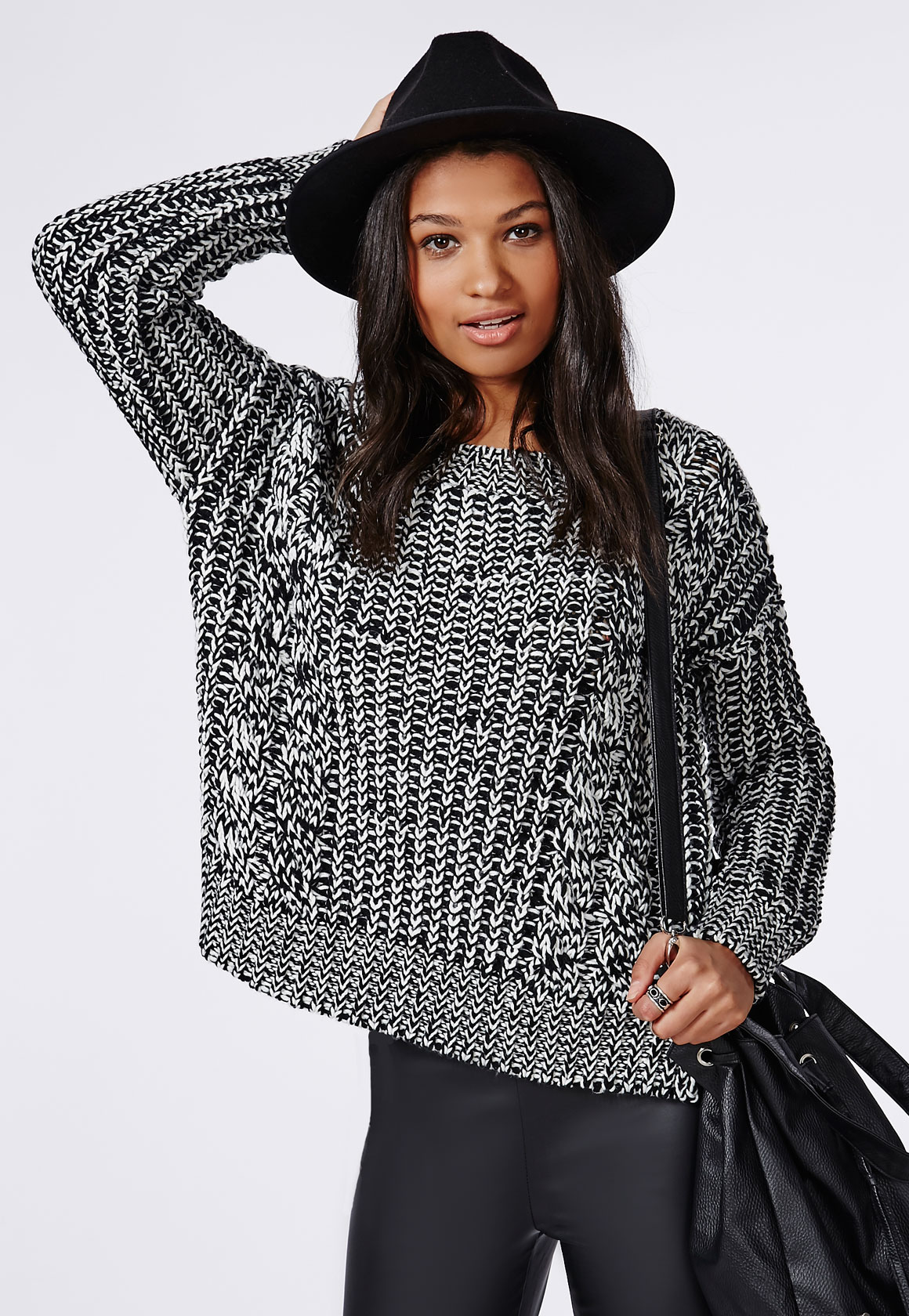 Anouska Cable Knit Slouch Jumper Monochrome Black