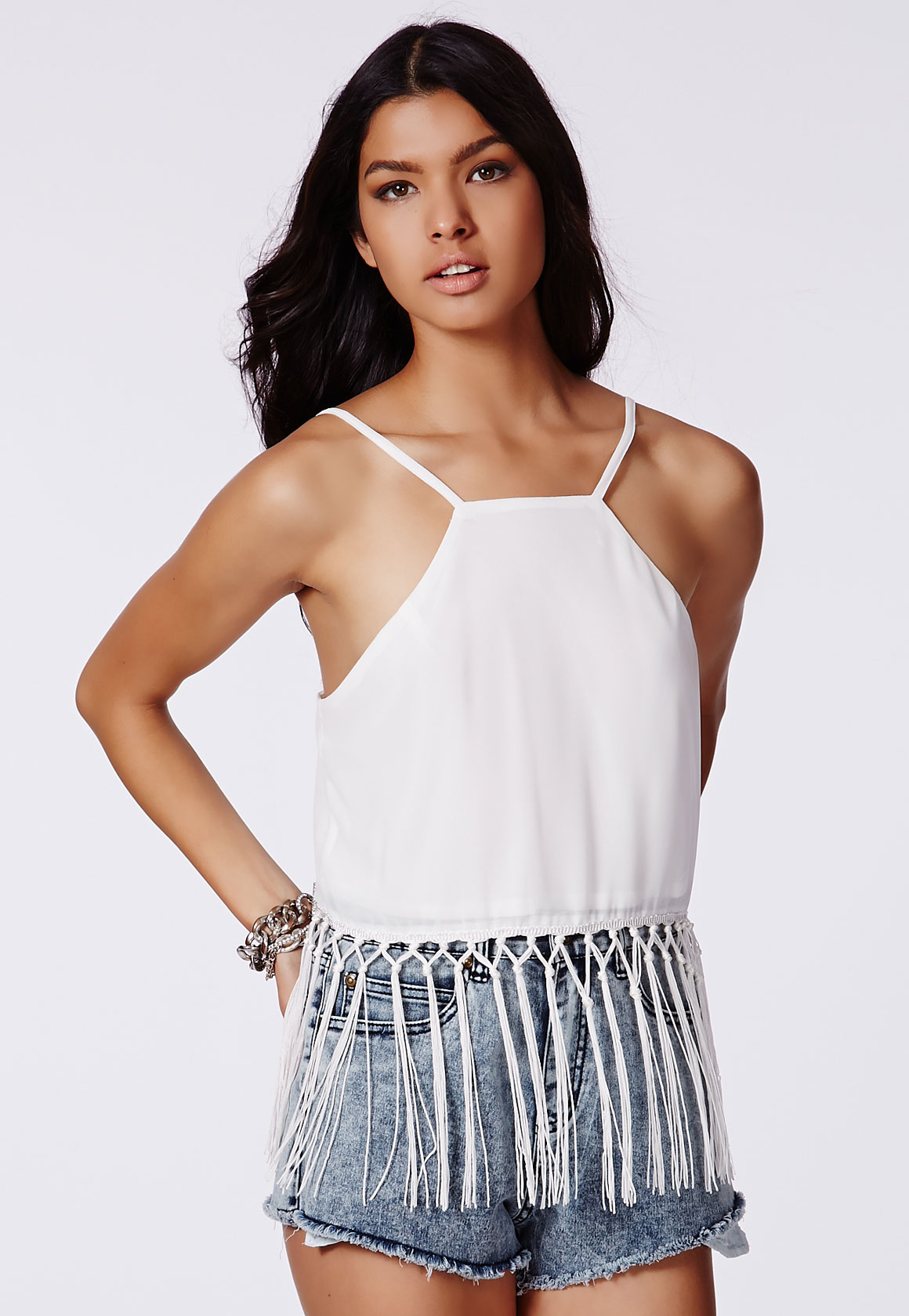 Women's Jewellery White Fringed Cami Crop Top, White