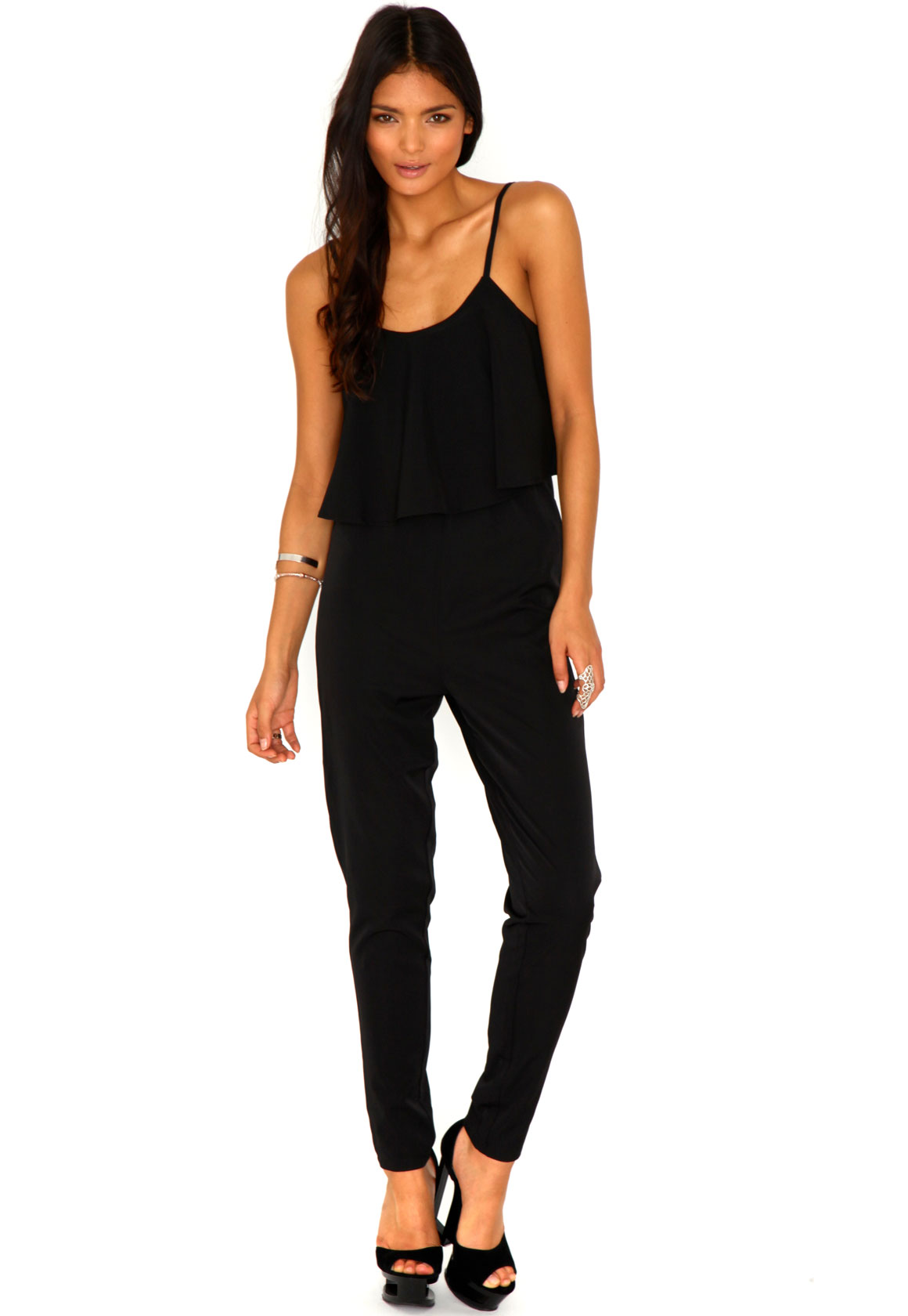 Clarice Strappy Frilled Jumpsuit In Black
