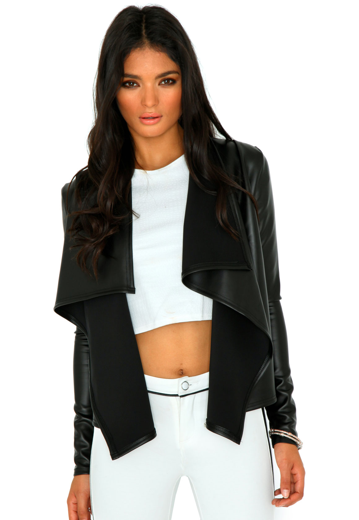 Styling Up - Mallorie Leather Waterfall Jacket Black - Jackets