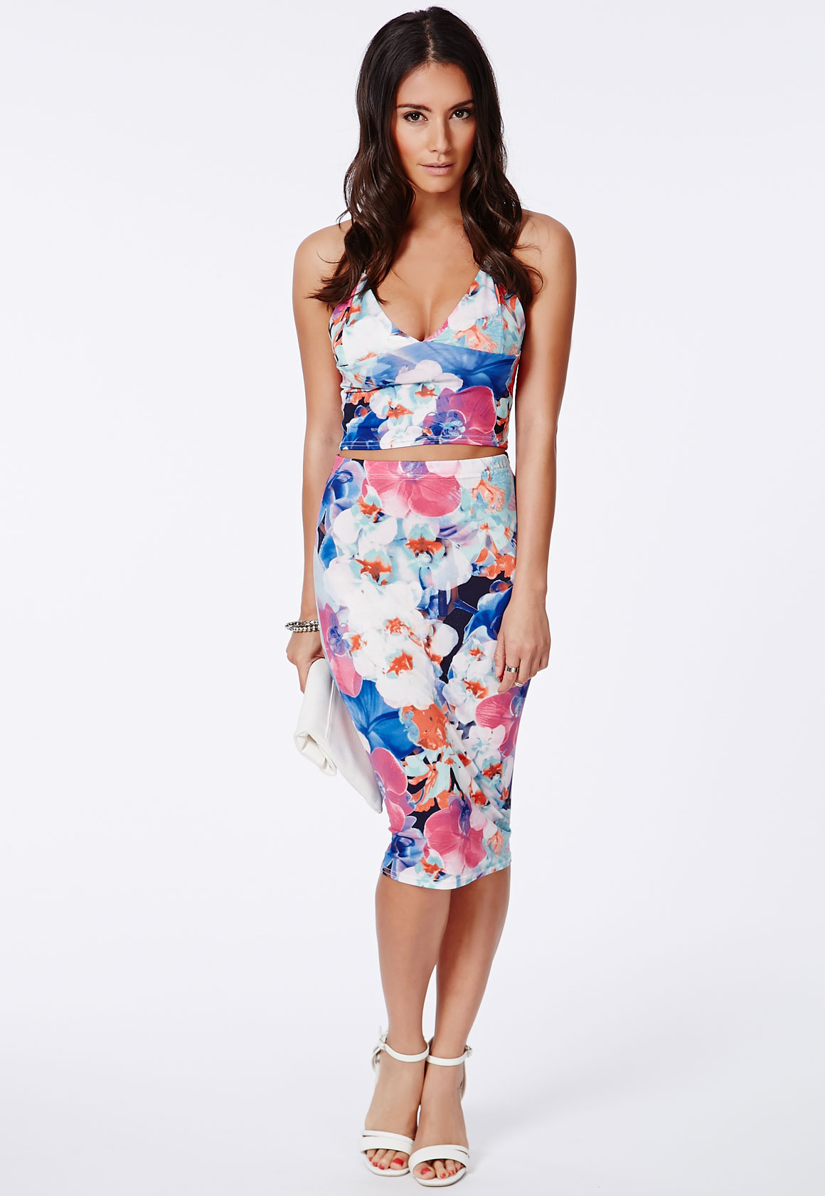 Floral Orchid Print Midi Skirt - Size 12