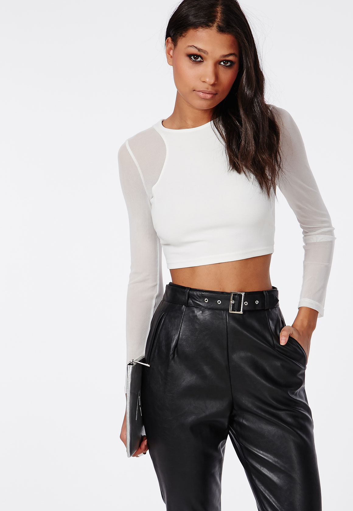 Shop Missguided online and buy Sleeve Crop Top White by Missguided