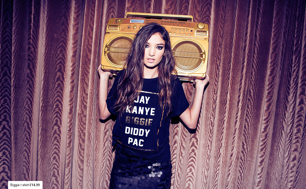 Sequin Skirt and Slogan Tee