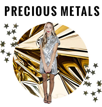 Metallic and Gold Dresses, Skirts and Heels