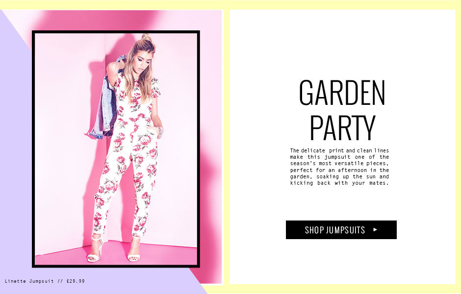 GARDEN PARTY - The delicate  print and clean lines make this jumpsuit one of the season's most versatile pieces, perfect for an afternoon in the garden, soaking up the sun and kicking back with your mates.