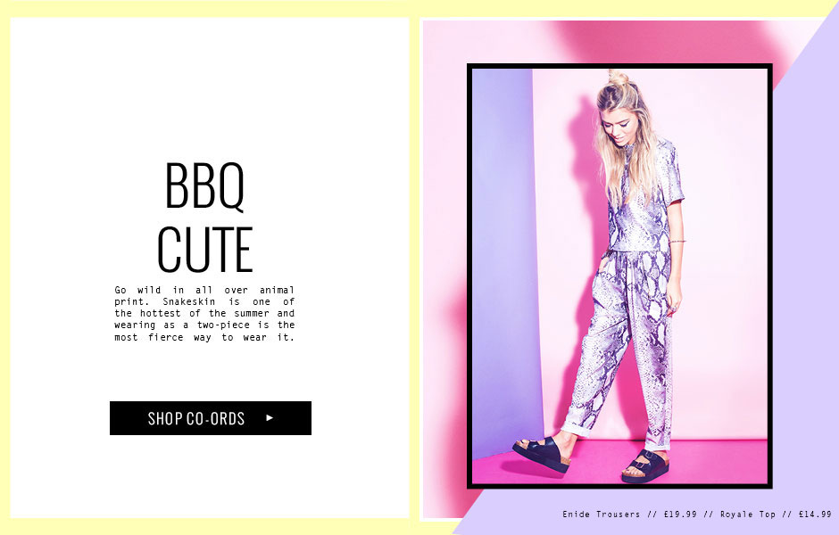 BBQ CUTE Go wild in all over animal print. Snakeskin is one of the hottest of the summer and wearing as a two-piece is the most fierce way to wear it.